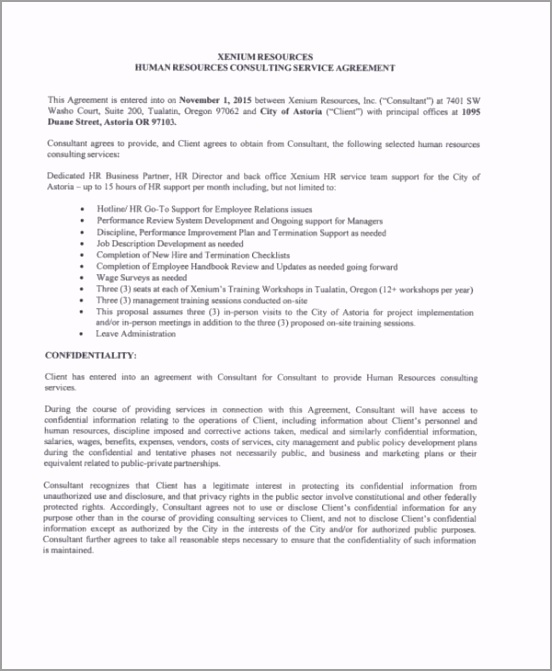 Hr Consulting Service Agreement Sample peeeo