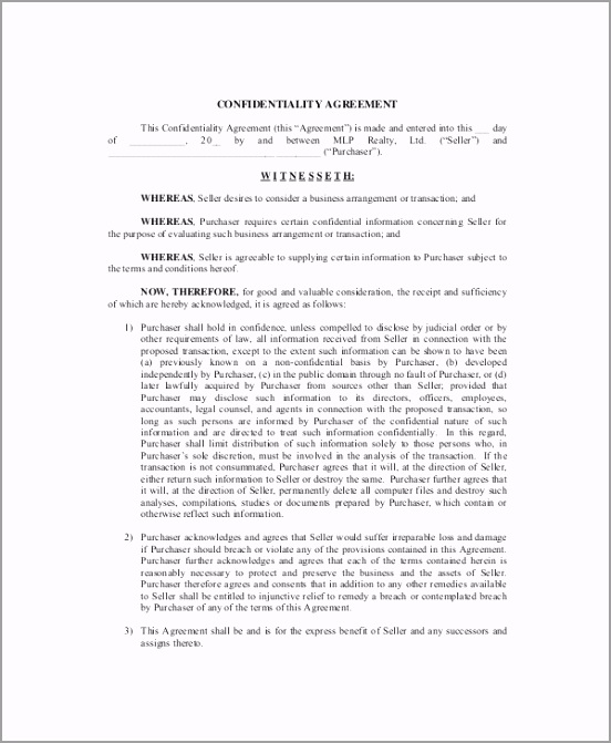Real Estate Confidentiality Agreement for Seller rutae