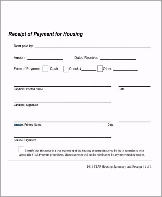 Lease Payment Receipt Template tuewq