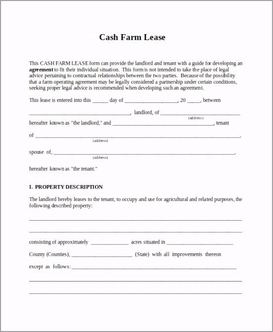 Cash Farm Lease Form Agreement Form uioow