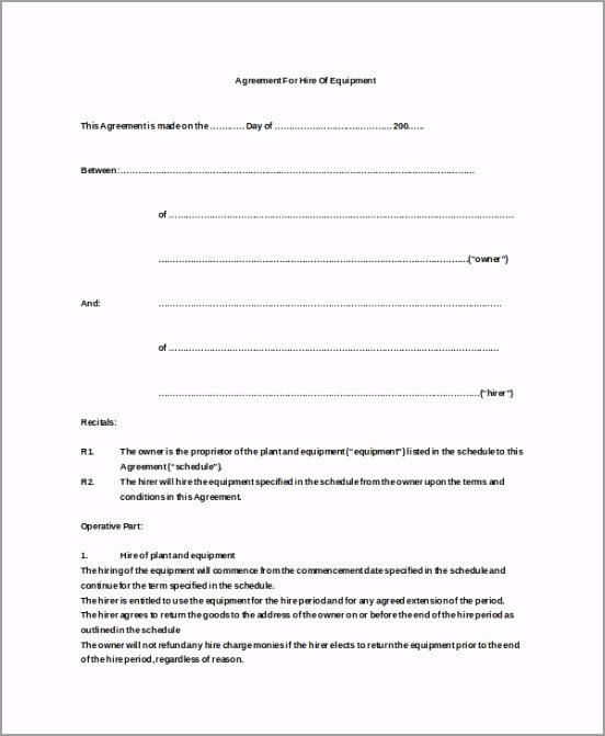Equipment Hire Agreement Doc Free Download urouw