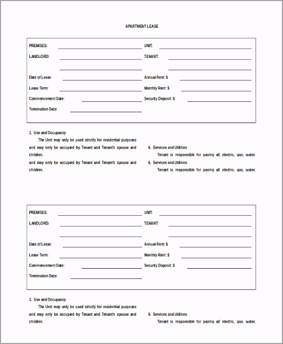 Blank Apartment Lease Agreement Doc Free Download1 tetpo