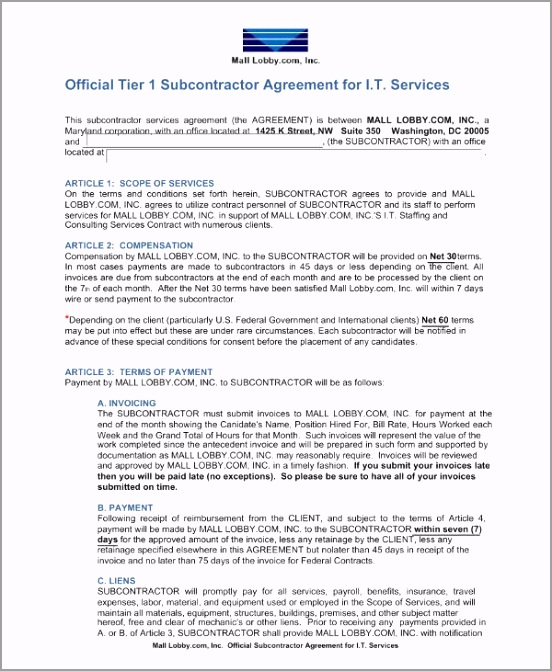 Subcontractor Agreement for IT Services Example iutru