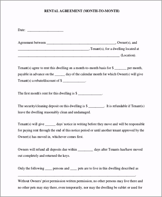 Month to Month Rental Agreement PDF Free Download wtrwo