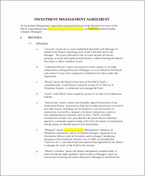 Printable Investment Management Agreement uiwas