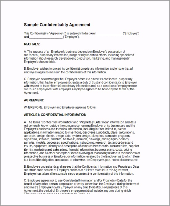Standard Employment Confidentiality Agreement Form eiwpp