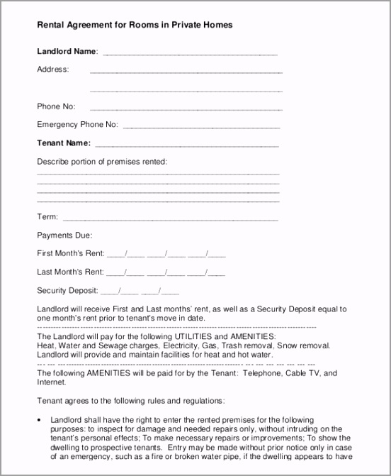 Free Download Rental Agreement for Rooms in Private Homes PDF Format tudoi