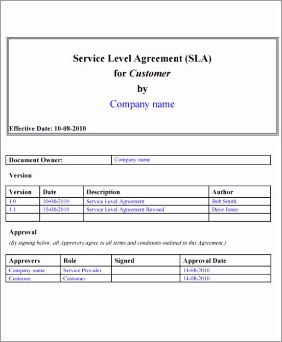 Customer Service Level Agreement Template1 eteur