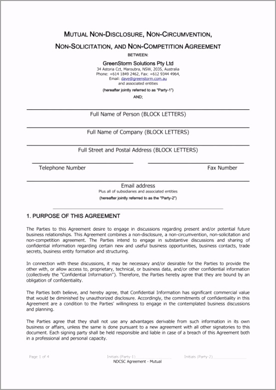 Mutual Non Disclosure and Non pete Agreement Template 1 eoryo