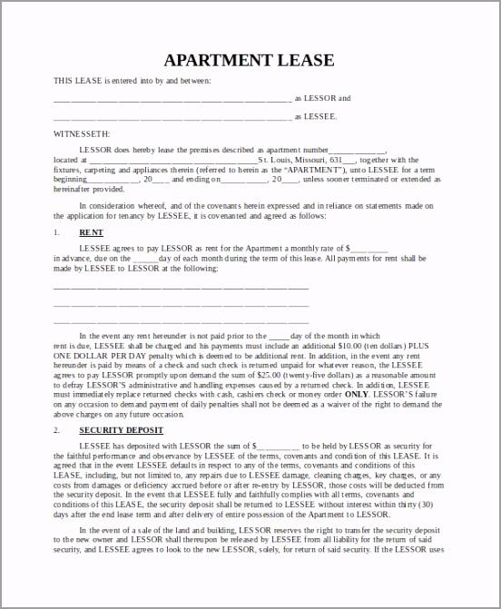 Blank Apartment Lease Agreement uorrt
