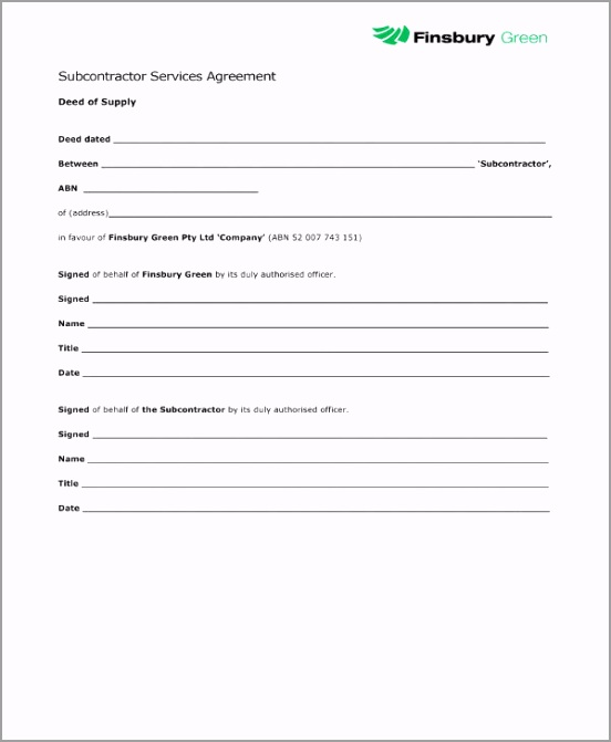 Subcontractor Services Agreement Example oypti
