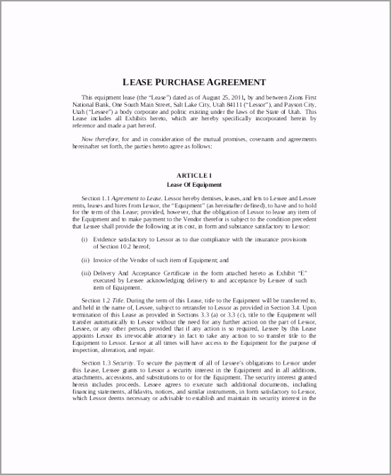 Equipment Lease Agreement with Option to Purchase Template taoyp