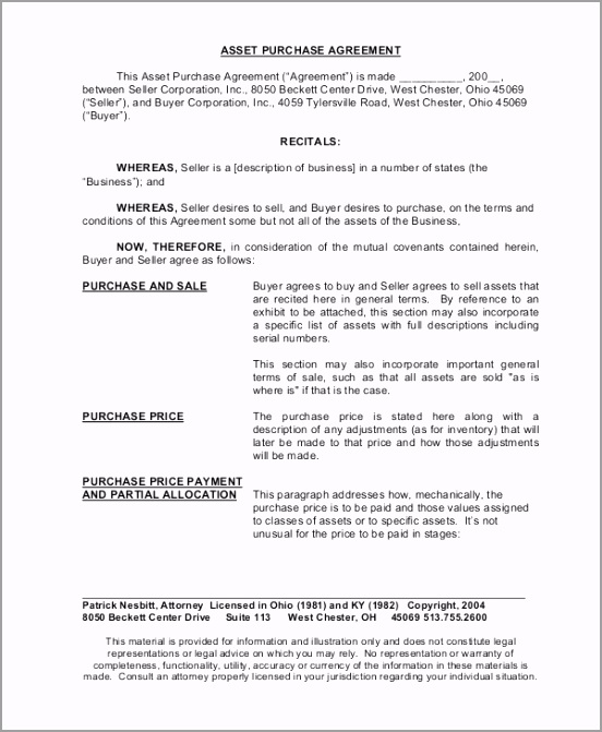 Model Asset Purchase Agreement Download eitzi