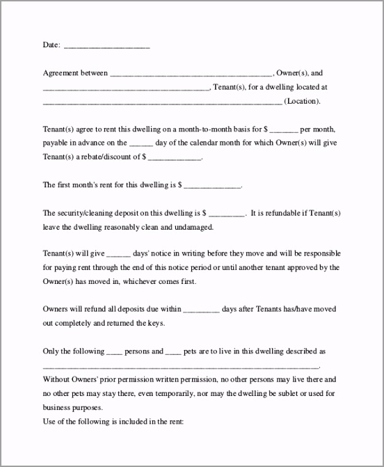 Month to Month Room Rental Agreement ieeyt
