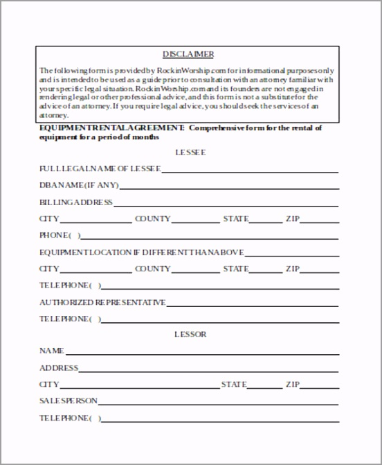 Example Equipment Rental Agreement Form retyp