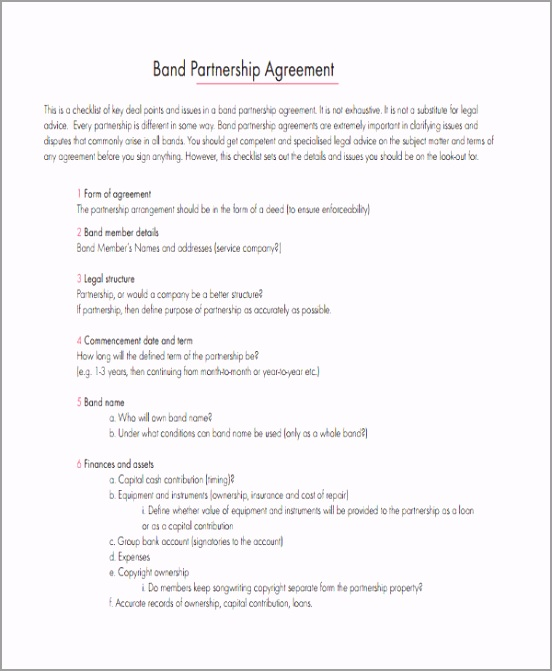 Simple Band Partnership Agreement ruadr