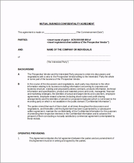 Example Mutual Legal Confidentiality Agreement tarax