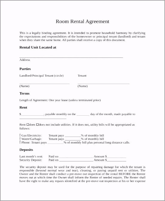 Room Rental Agreement Template oraeu