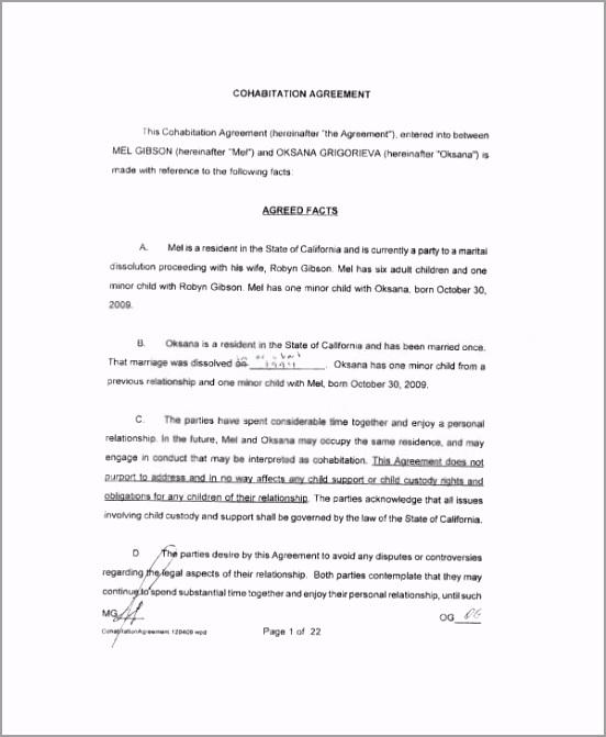 Free Printable Cohabitation Agreement Template uitpt