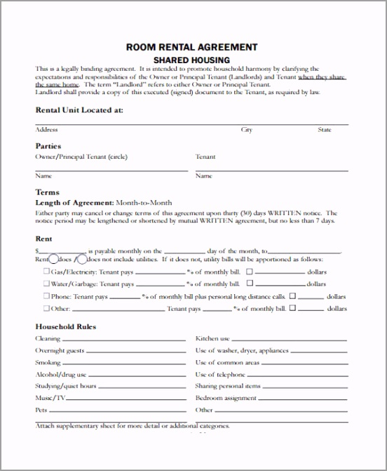 Room in Home Rental Agreement Form2 eoaox