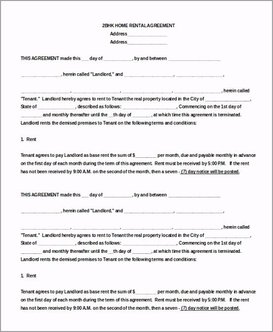 2BHK House Blank Rental Agreement Doc Download yrpow
