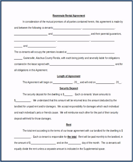 Sample of Roommate Agreements Template yyara