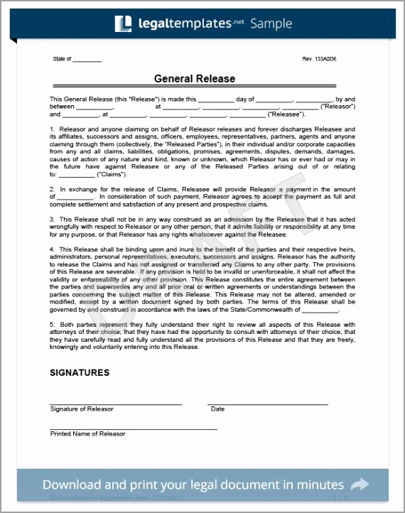 General Release of Liability Template ueaeb