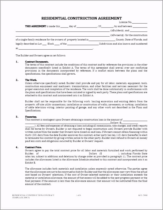 Residential Construction Contract Template aturr