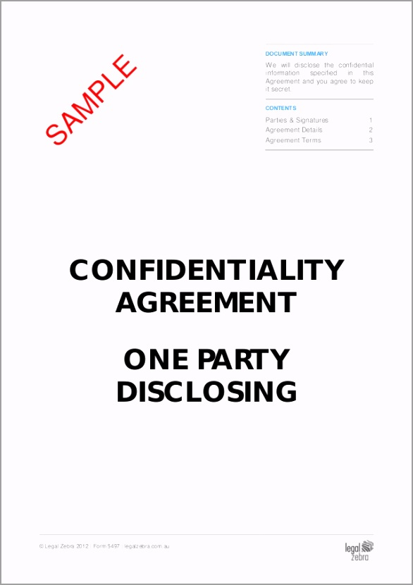 confidentiality agreement one party disclosing doc 5497 sample tm 6259 toooo
