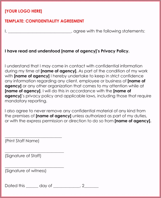 Business Confidentiality Agreement 3 erway