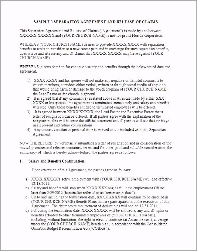 Separation Agreement Template 21 aiaot