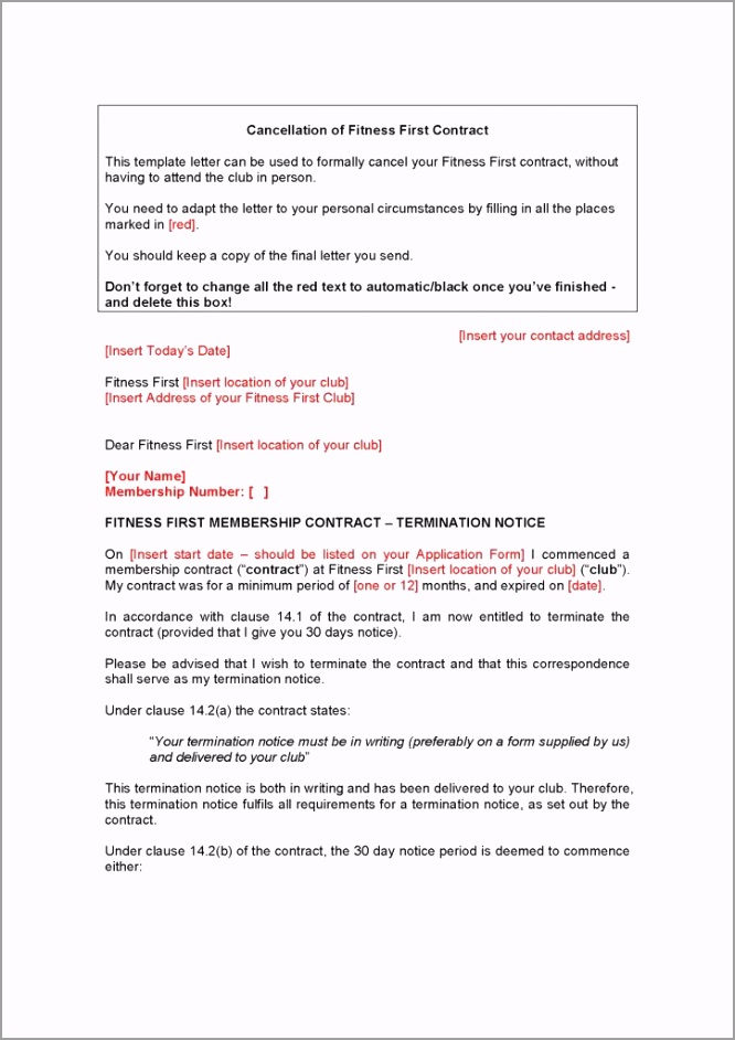 cancel gym contract template word doc 724x1024 ruaaa