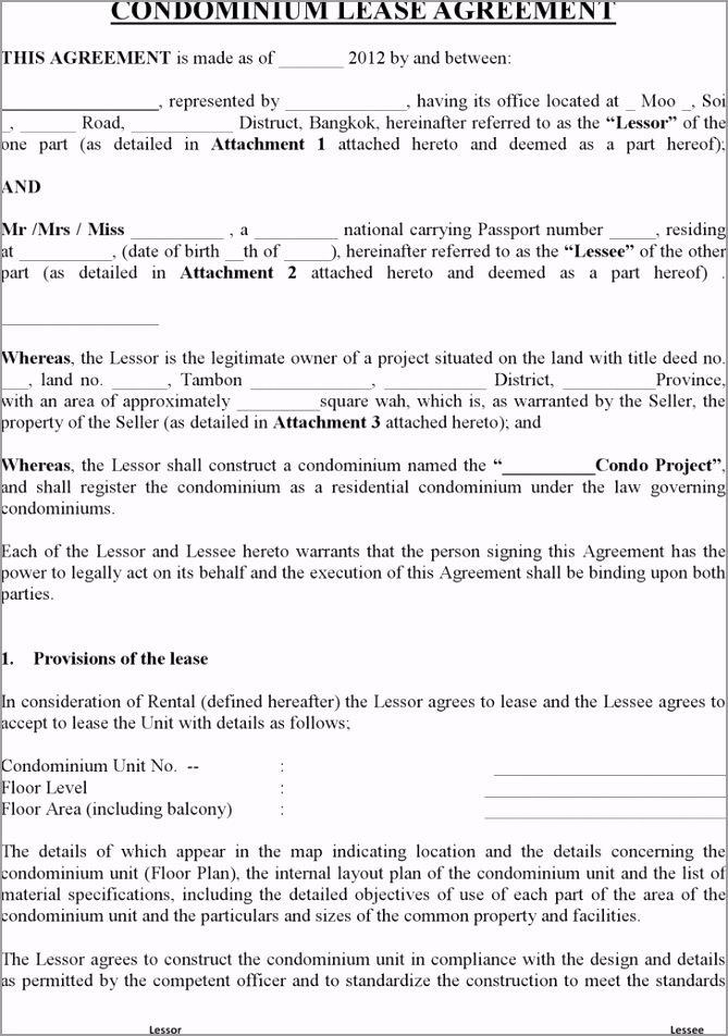 condo lease agreement rental template 42 ouayt