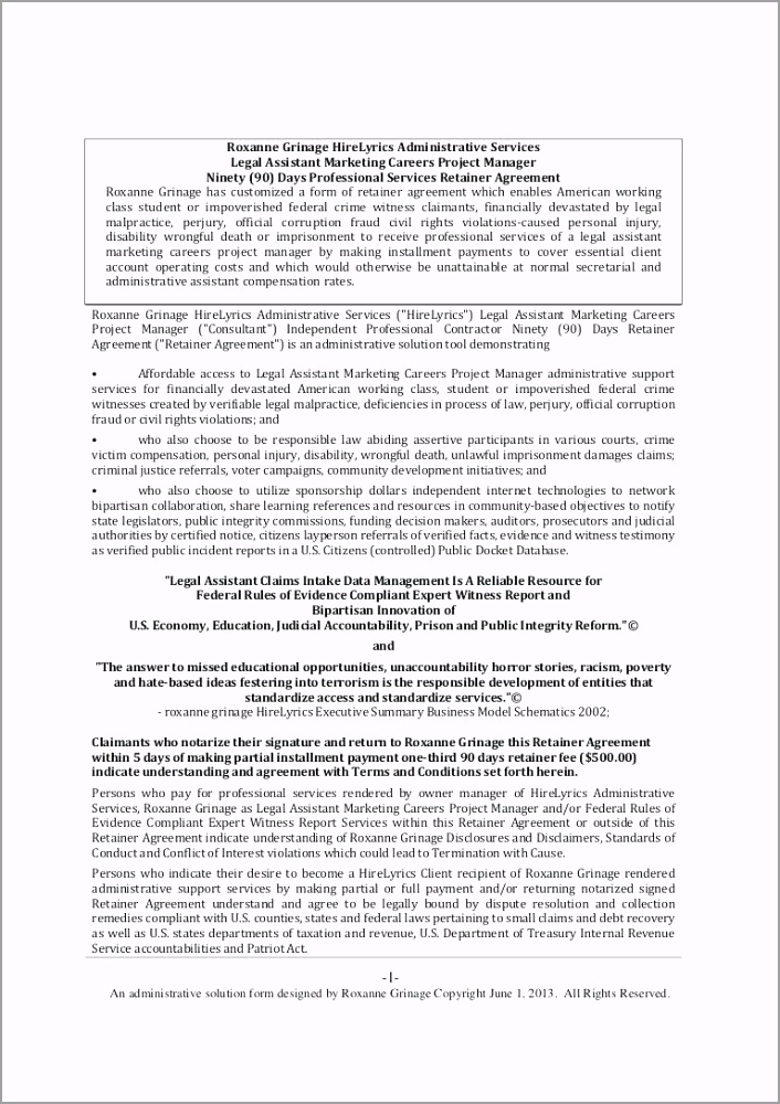 days retainer agreement legal assistant marketing careers template for services paayg