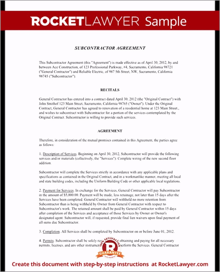 subcontractor agreement form template with sample simple subcontractor agreement template trtuo