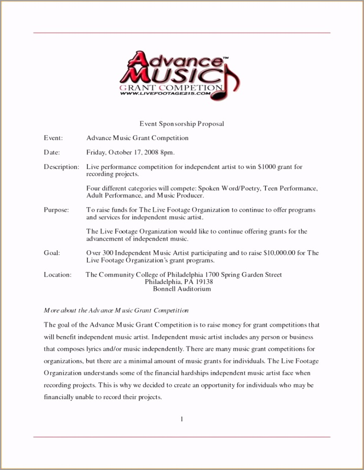 band sponsorship proposal music event sponsorship proposal template etaip