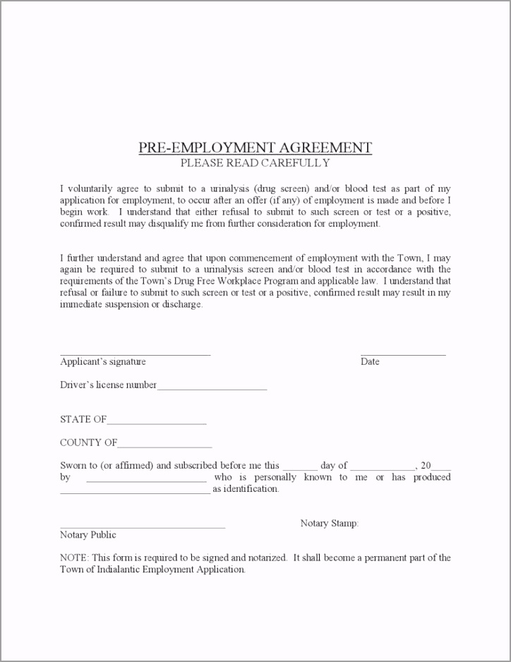 Pre Employment Agreement page 001 788x1020 yttry