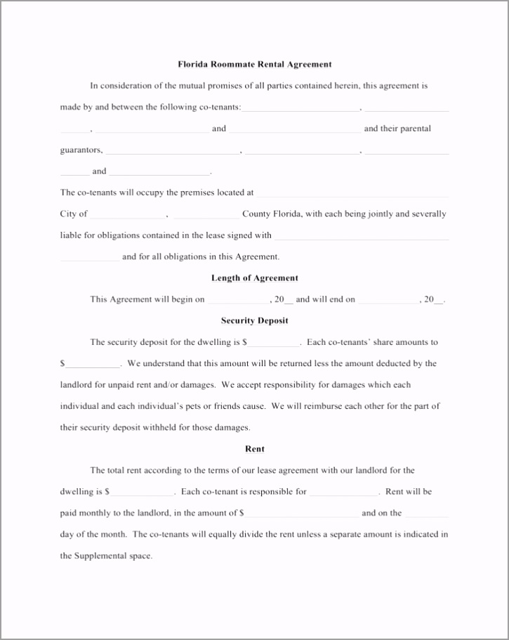 free florida roommate room rental agreement template word pdf pirau