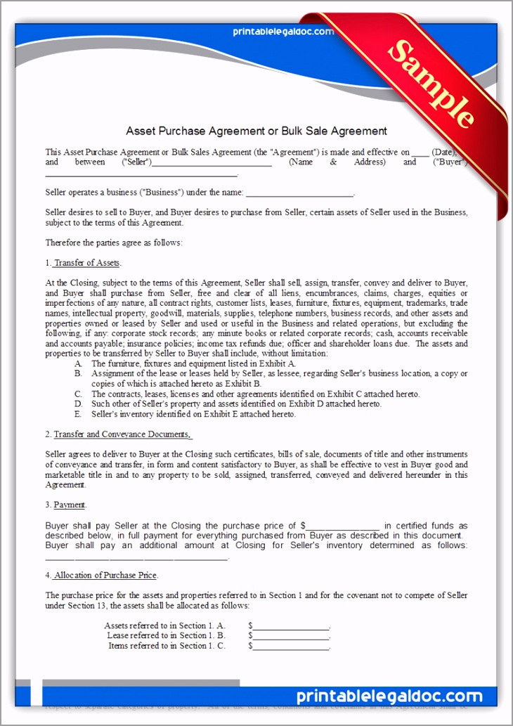 Printable Asset Purchase Agreement Form aatuw