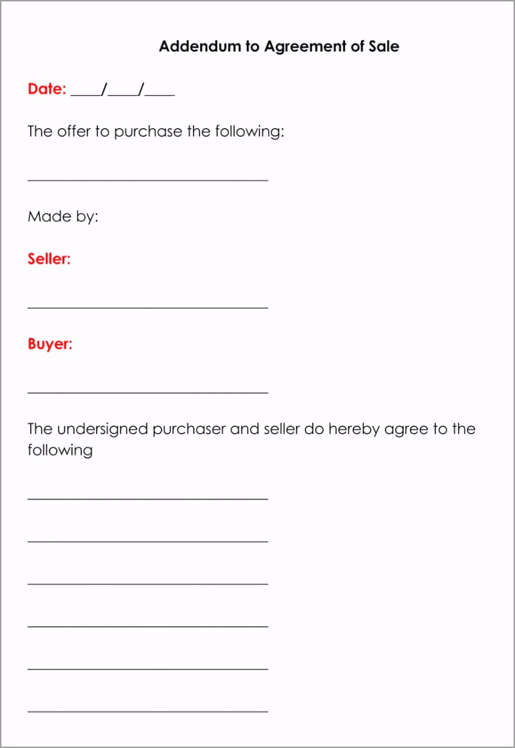 Addendum to Agreement of Sale Form ueiiw