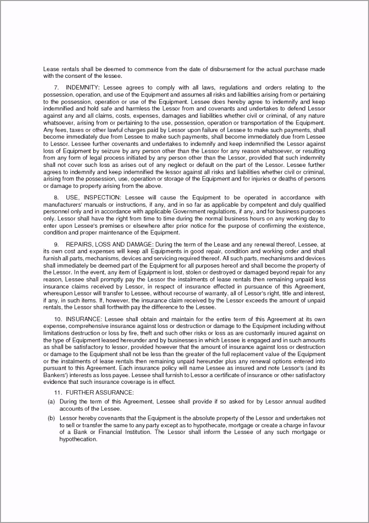 Equipment Lease Agreement Template 2 tayew