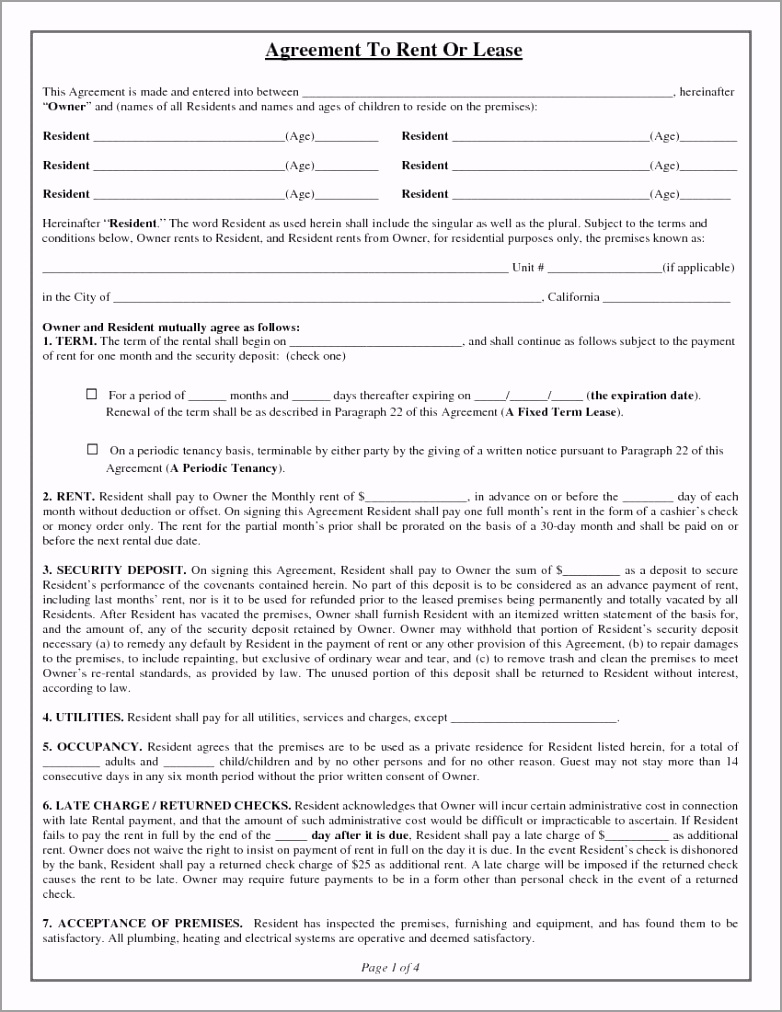 California Rental Lease Agreement 1 eeipr