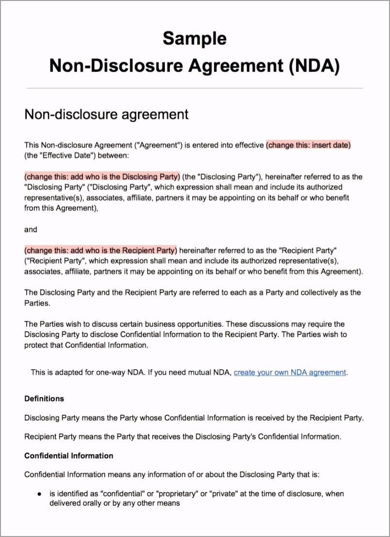 screenshot sample non disclosure agreement template yojiy