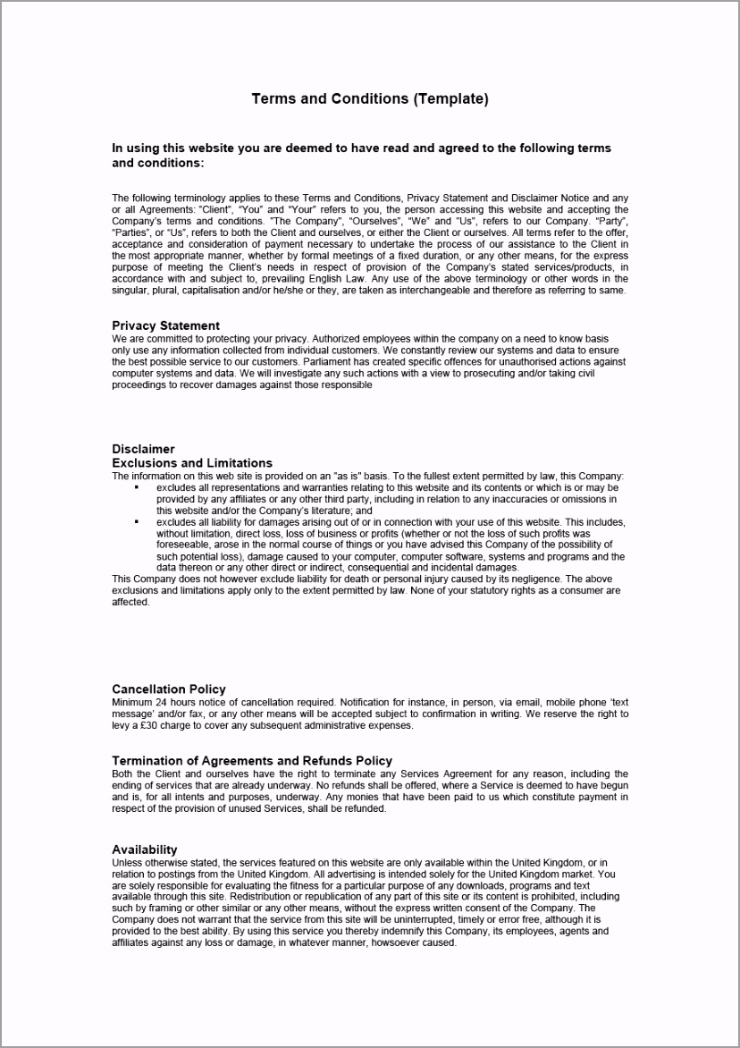 terms and conditions template 25 yeazo