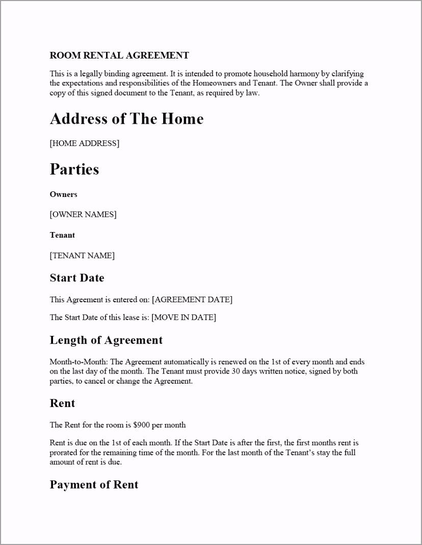 room rental agreement 27 yeoet