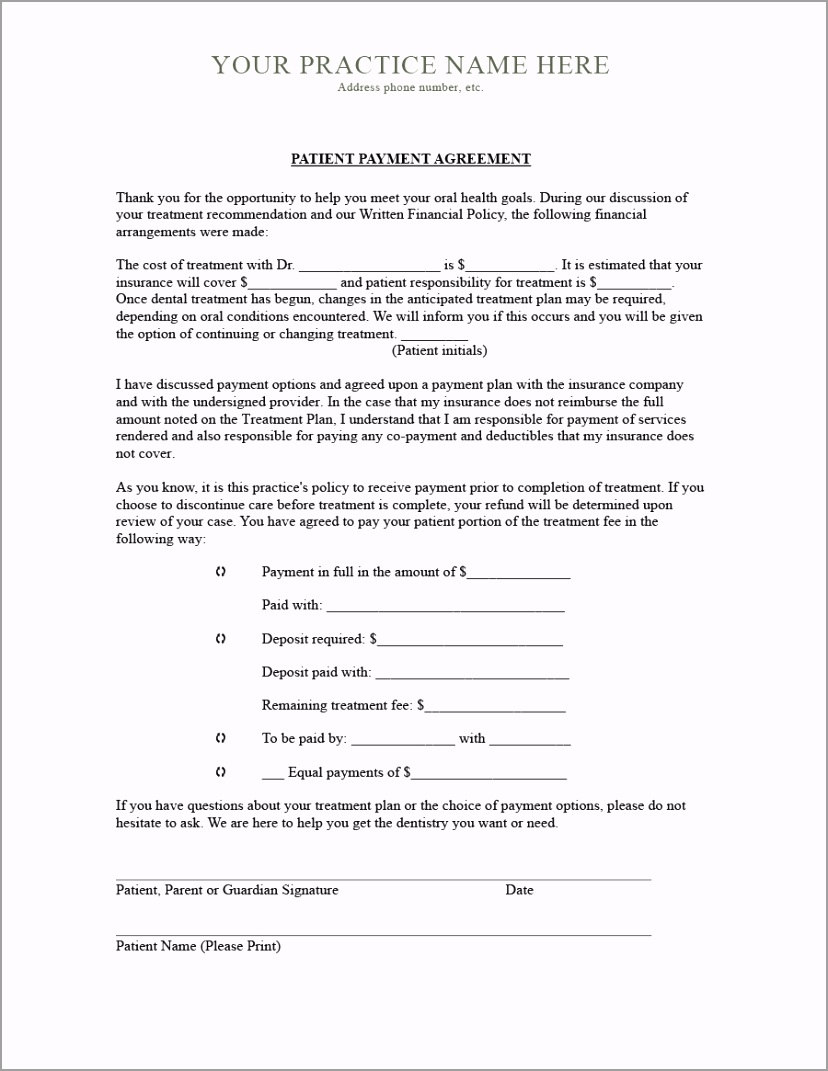 payment agreement template 18 uerpi
