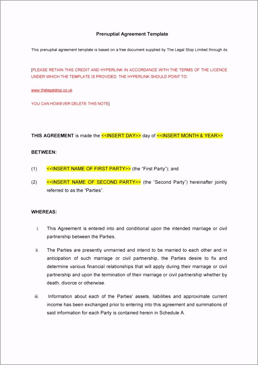 Prenuptial Agreement Template 10 iueej