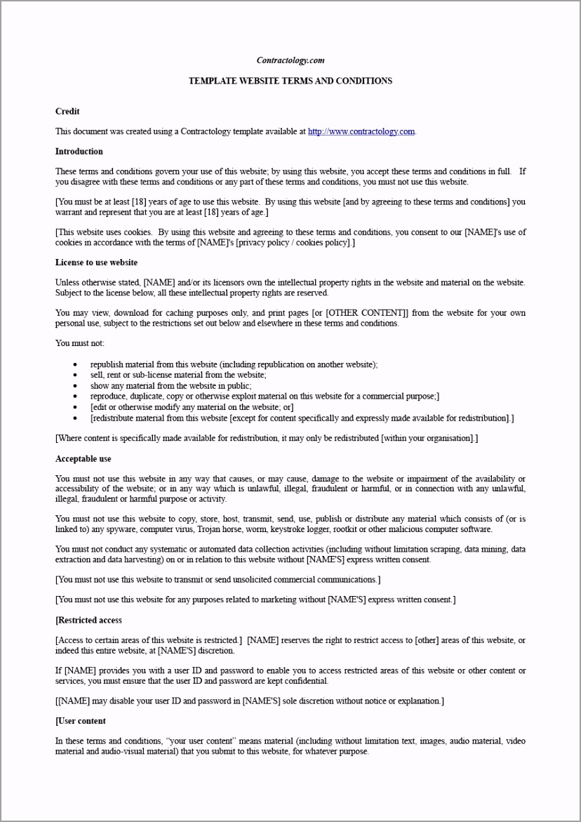 terms and conditions template 04 yvtau