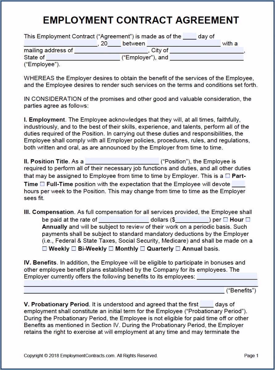 Employment Contract Template Example reoyu