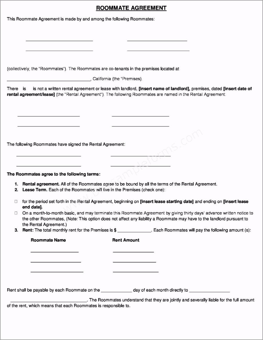 roommate rental agreement form optgi